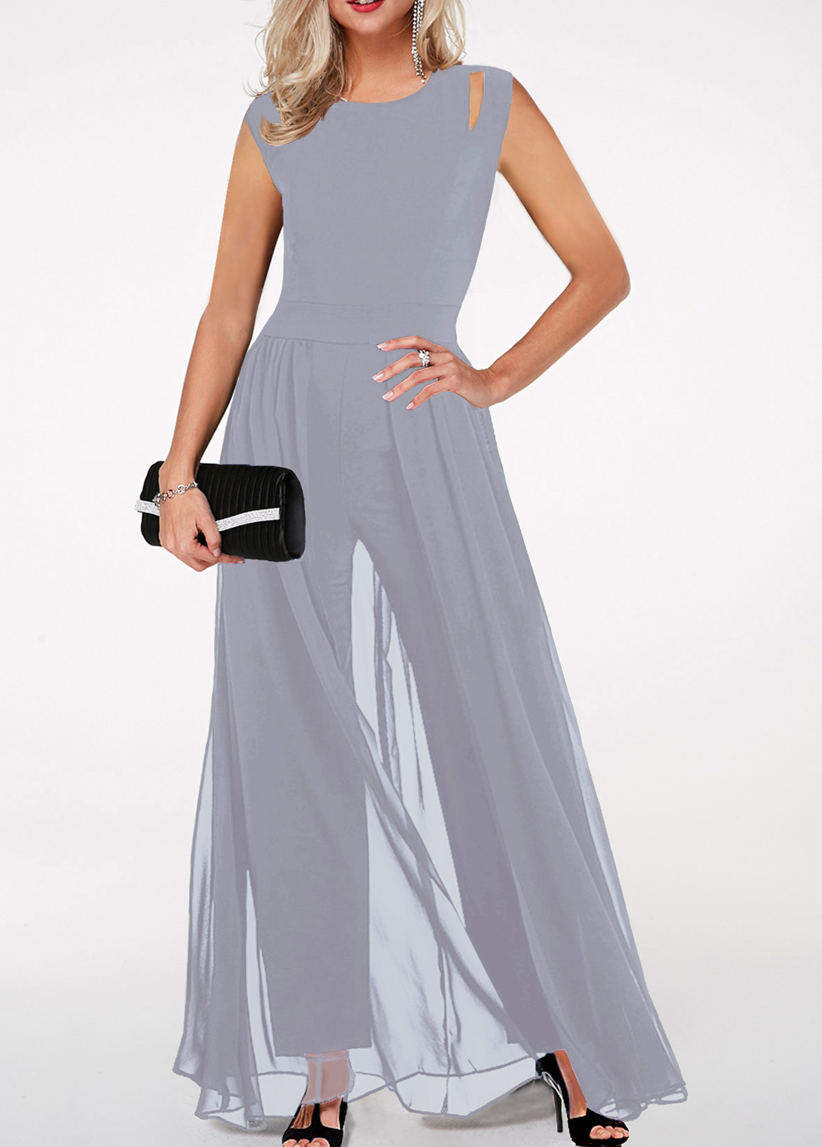 Round Neck High Waist Light Grey Jumpsuit