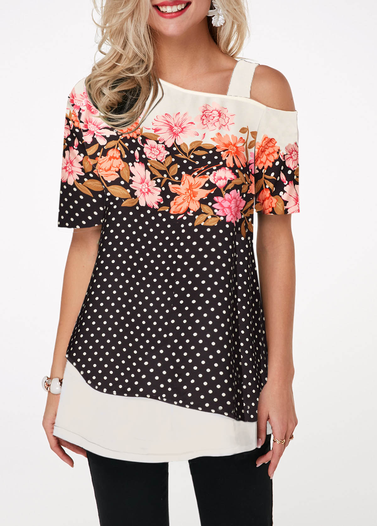 Cold Shoulder Dot and Flower Print T Shirt