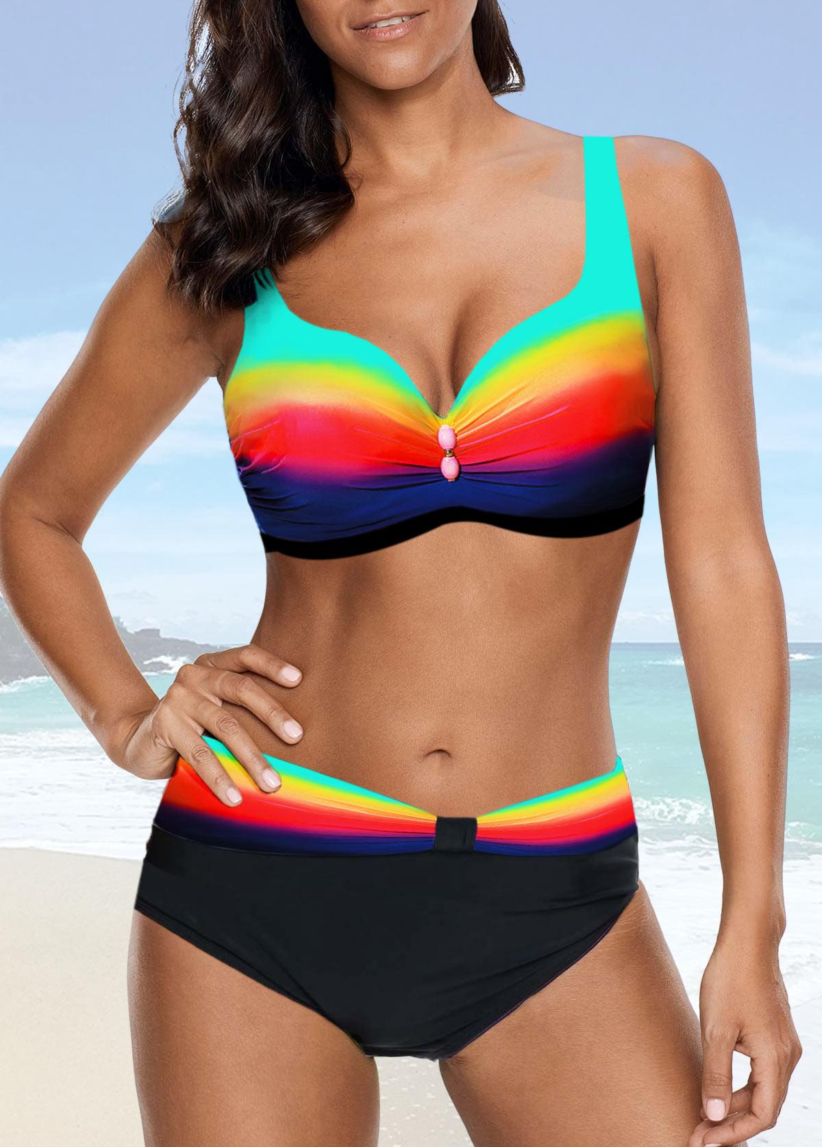 Strappy Dazzle Color High Waist Bikini Set