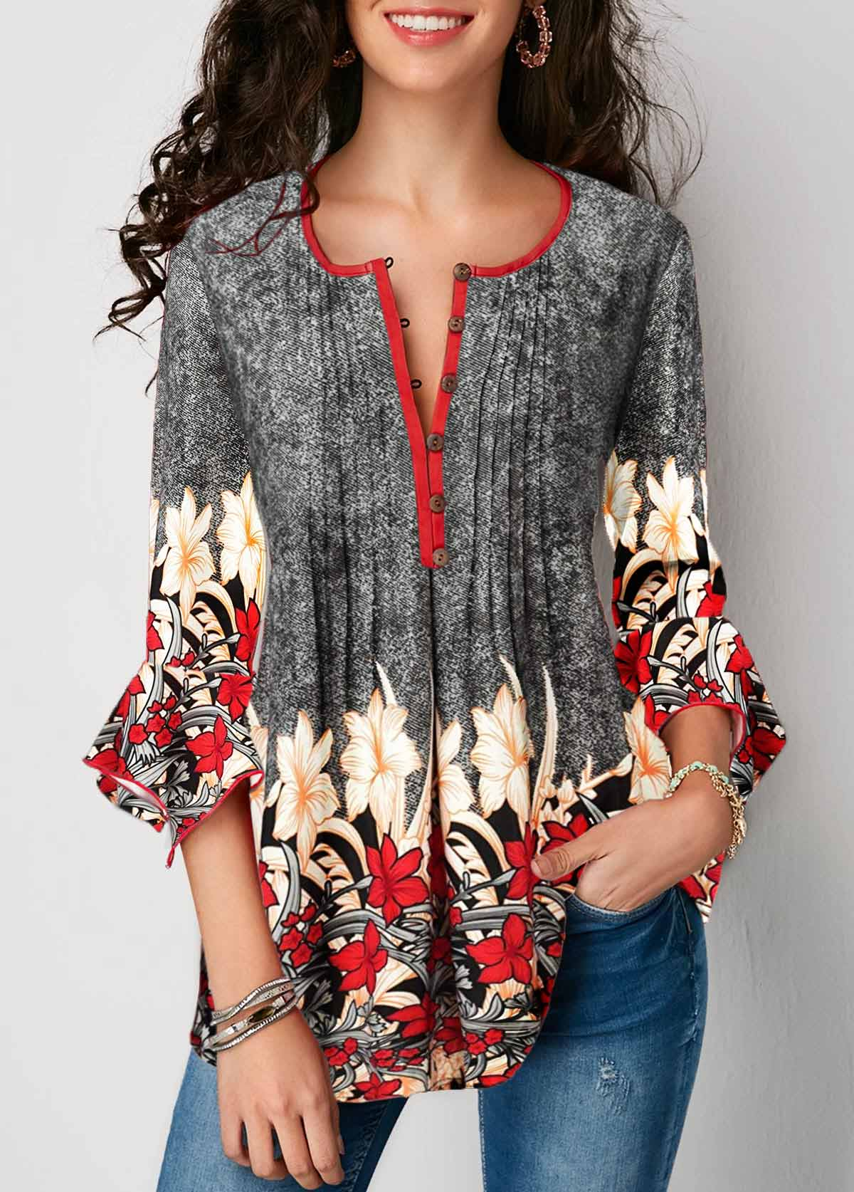 Button Up Pleated Printed Three Quarter Sleeve Blouse