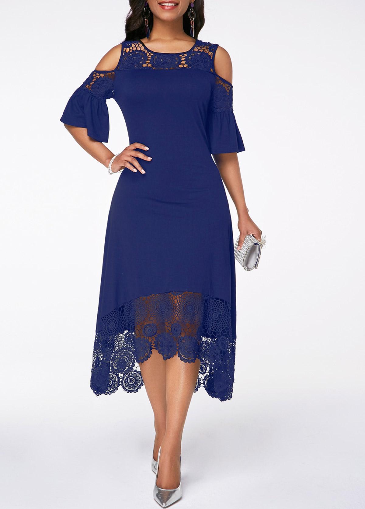 Navy Cold Shoulder Flare Cuff Lace Panel Dress
