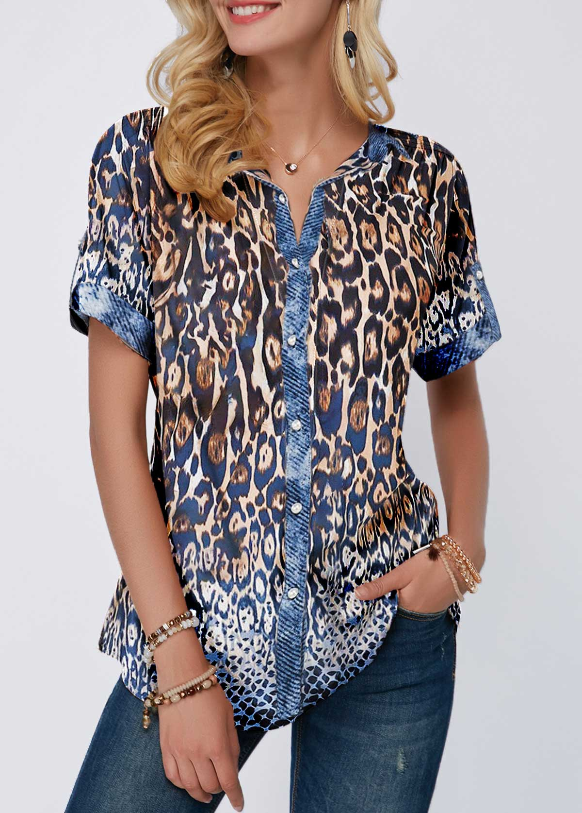 Leopard Print Turndown Collar Button Front Blouse