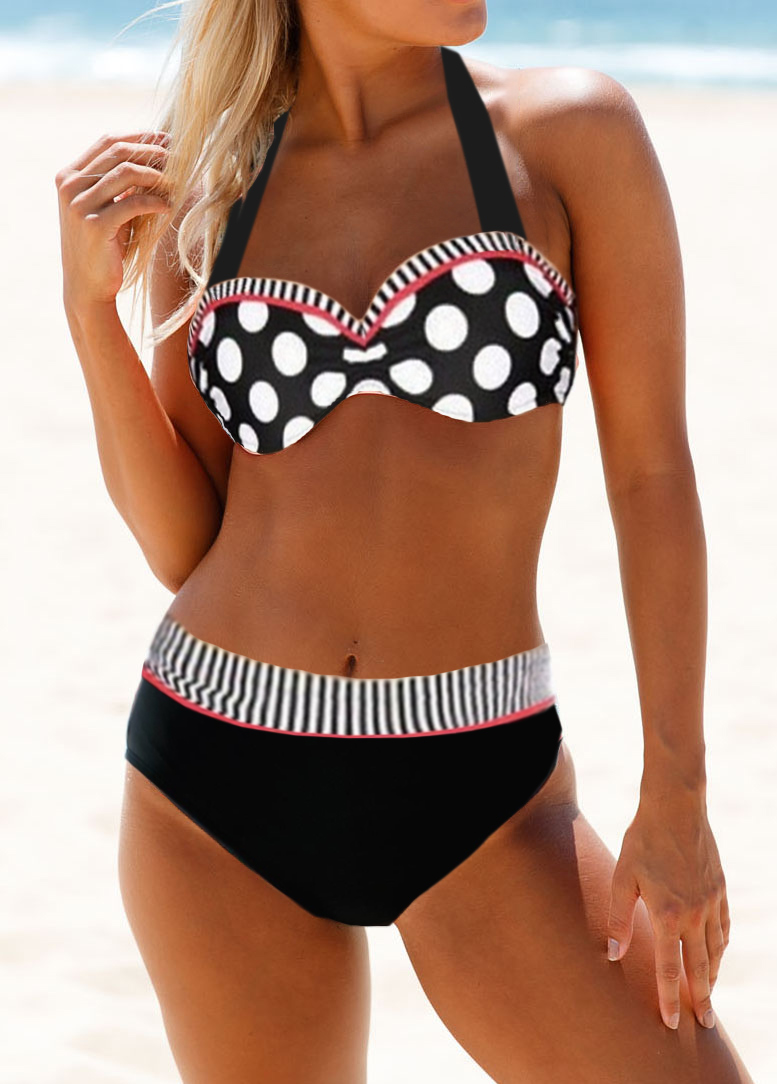 Strappy Back High Waist Dot Print Bikini Set