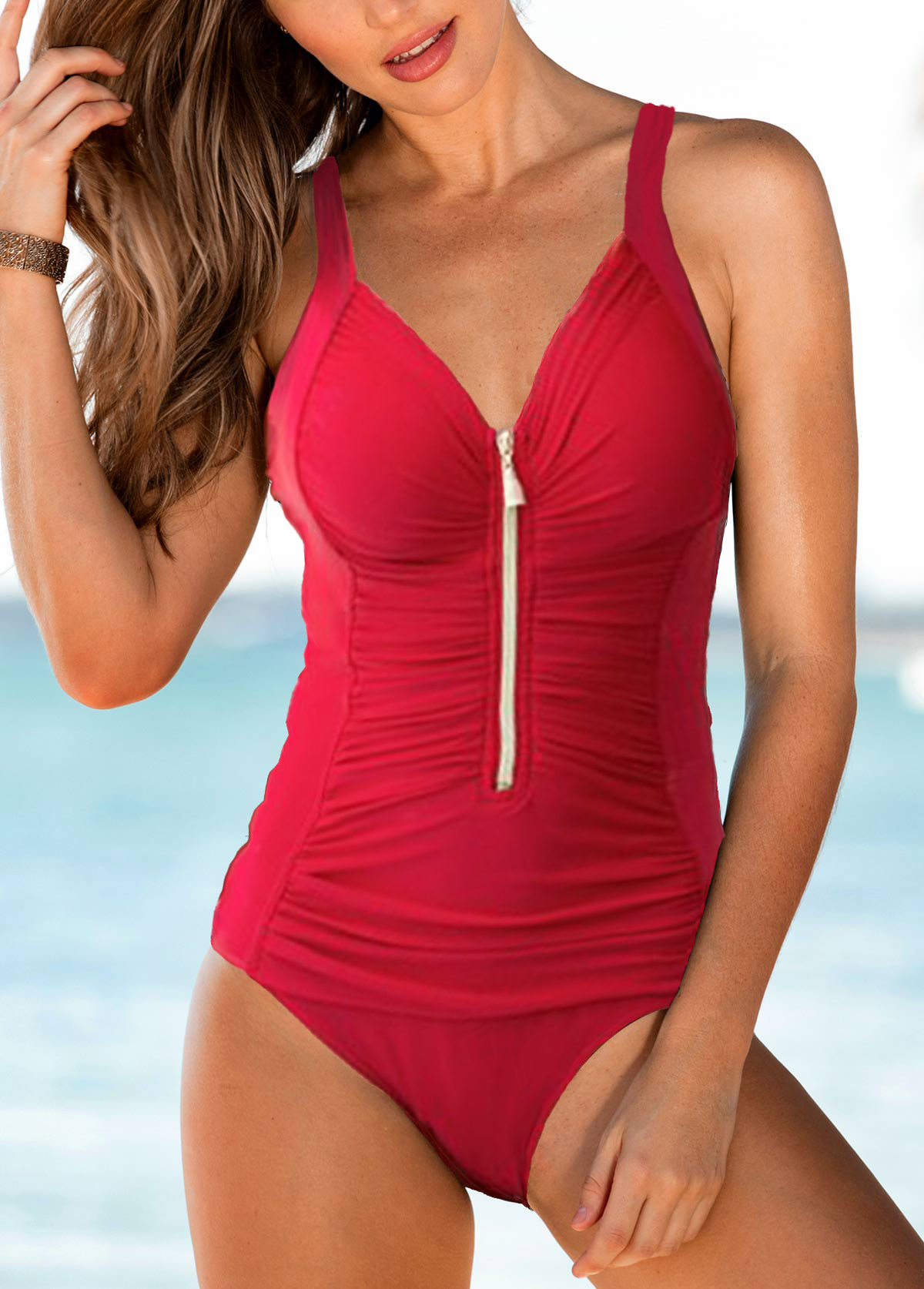 Zipper Front Strappy Ruched One Piece Swimwear