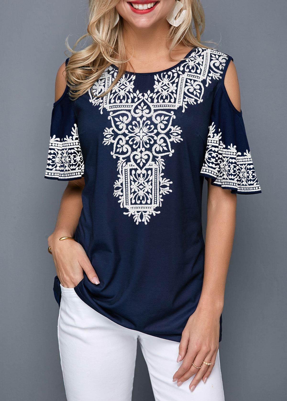Retro Print Cold Shoulder Half Sleeve T Shirt
