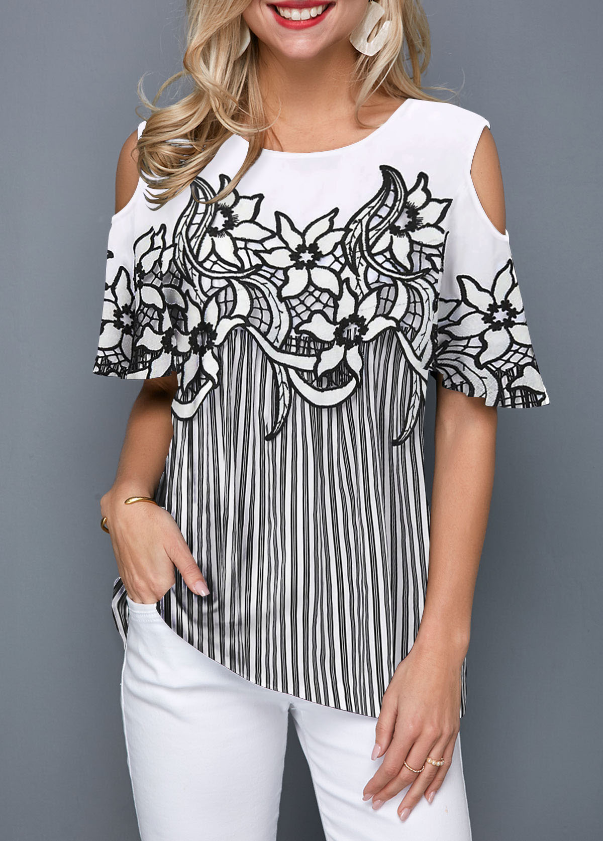 Flower Print Cold Shoulder Striped Blouse