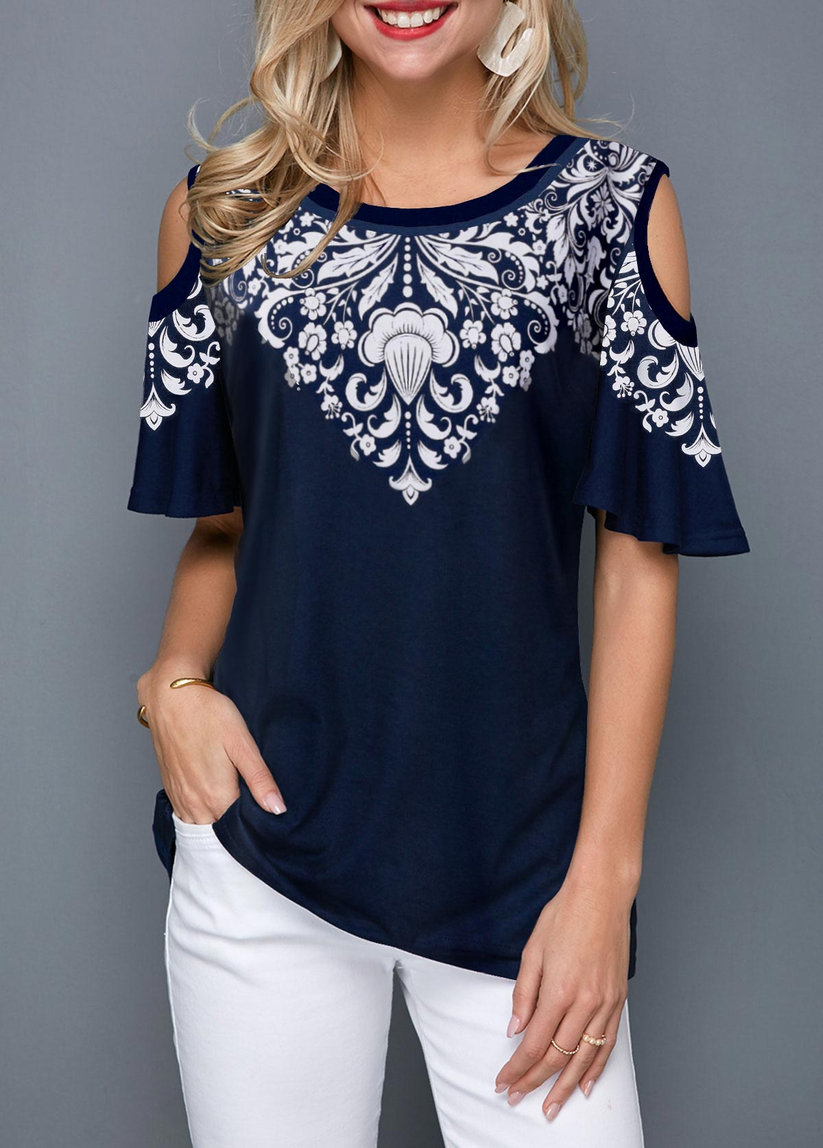 a8703892929c6 Cold Shoulder Tribal Print Navy Blue T Shirt. AddThis Sharing Buttons