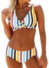 Mid-Waist-Multi-Stripe-Spaghetti-Strap-Bikini-Set