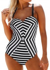 Striped-Cross-Strap-Black-One-Piece-Swimwear