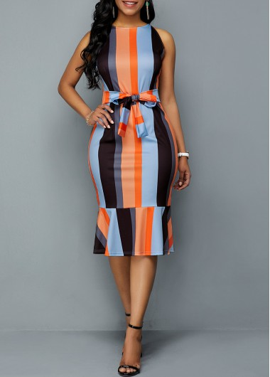 Color Block Tie Front Ruffle Hem Sheath Dress - L
