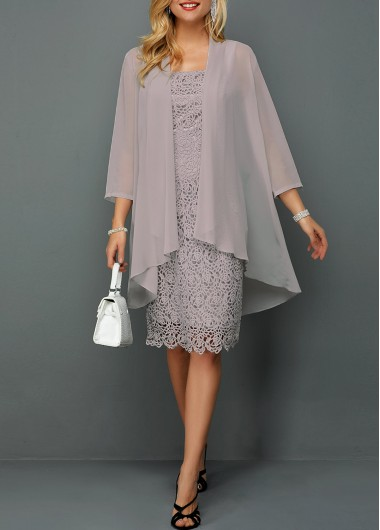 Women's Chiffon Cardigan And Sleeveless Lace Dress 3/4 Sleeve Grey Elegant Dress - M