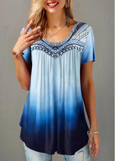 Round Neck Short Sleeve Gradient T Shirt - L