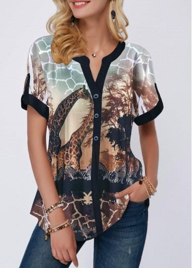 Women's Animal Print Casual Shirt Button Detail Giraffe Print Short Sleeve Blouse - L
