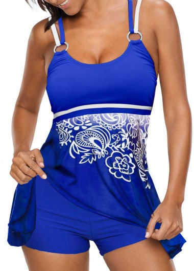 Criss Cross Back Printed Blue Tankini Set - L