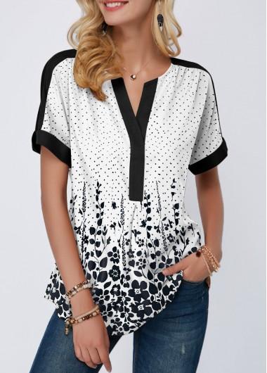 Split Neck Short Sleeve Dot Print Blouse - L