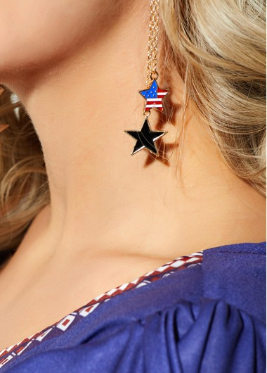 Gold Metal Chain Star Shape Earring - One Size