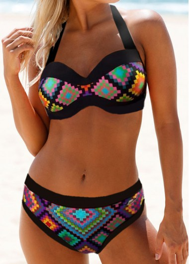 17274964de5 61%offQuick ShopAdded Successfully. Cutout Back Geometric Print Bikini Set