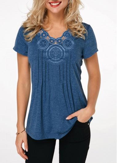 Short Sleeve Crinkle Chest Blue T Shirt - L