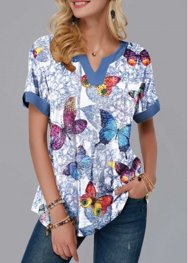 b47853ab415894 47%offQuick ShopAdded Successfully. Split Neck Short Sleeve Butterfly Print  Blouse