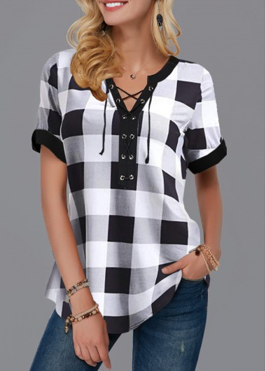 Women's Short Sleeve Black And White Plaid Top Lace Up Front Plaid Print Blouse - L
