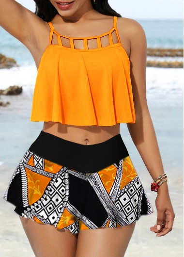 Cage Neck Overlay Top and Printed Pantskirt - L
