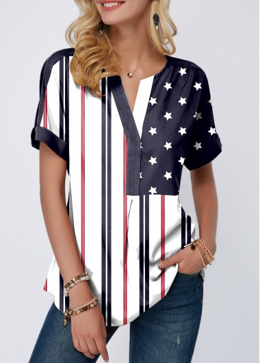 Women's American Flag Patriotic Shirt Curved Hem Split Neck Short Sleeve American Flag Print Blouse - L
