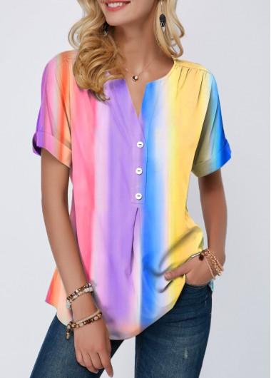 Rainbow Color Tie Dye Print Button Detail T Shirt - L