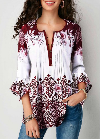 White Crinkle Chest Tribal Print 3/4 Sleeve Fashion Tunic Top - L
