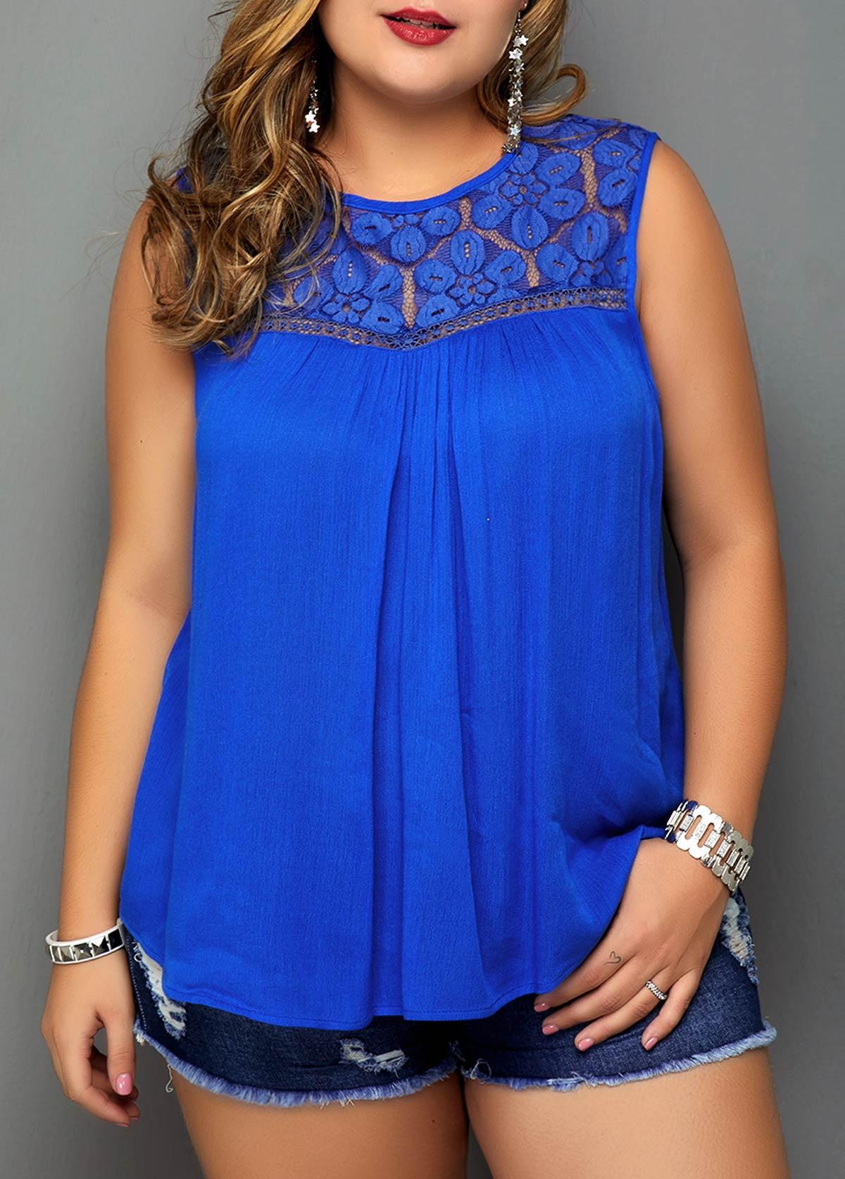 Plus Size Royal Blue Lace Patchwork Blouse