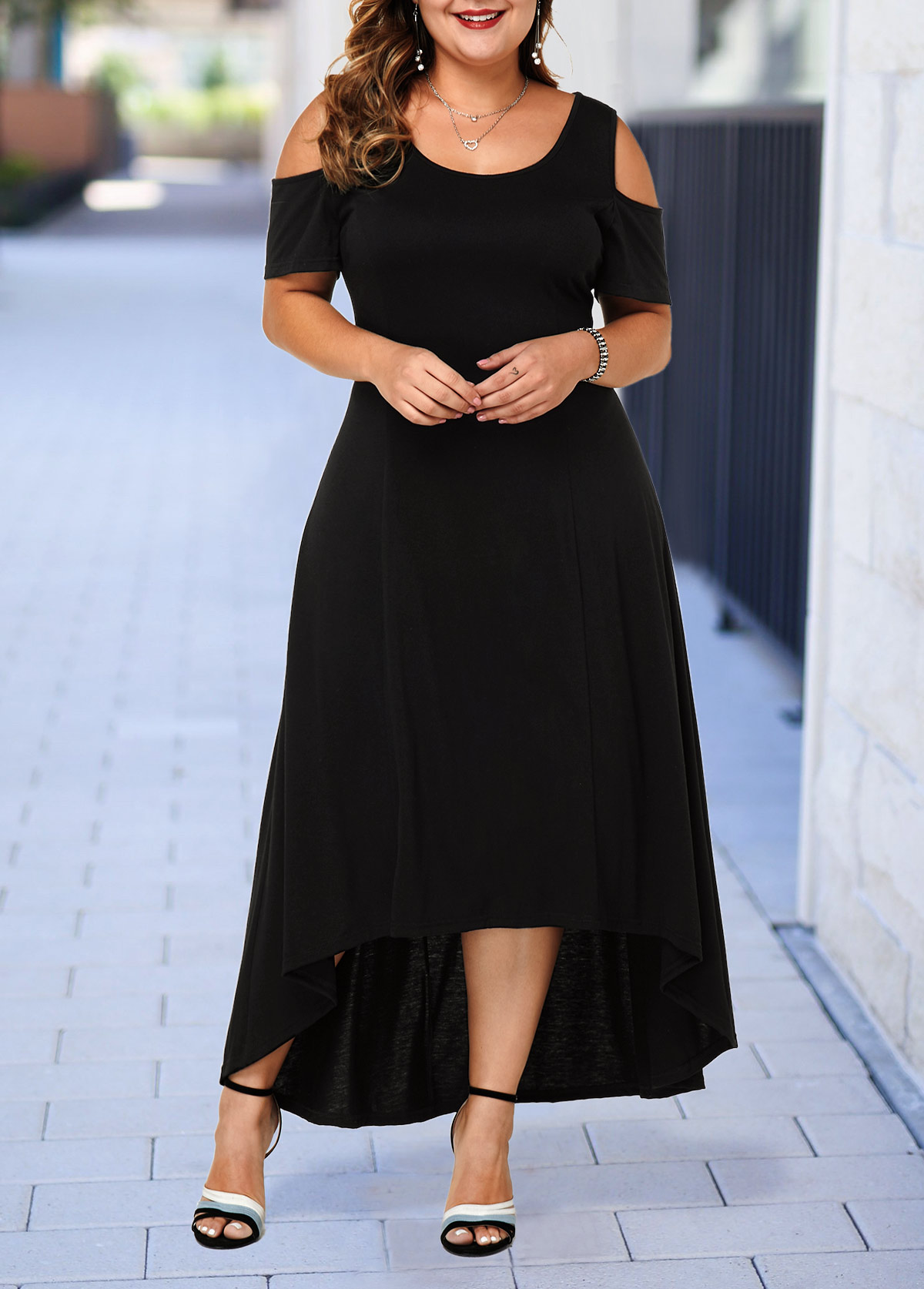 Plus Size Cold Shoulder High Low Dress | modlily.com - USD $33.53