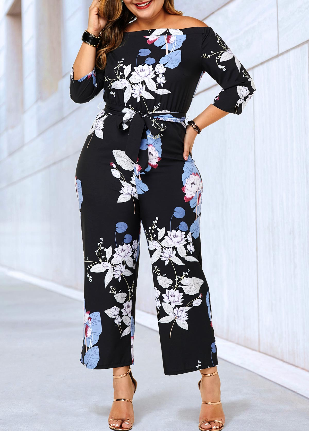 Three Quarter Sleeve Plus Size Belted Jumpsuit