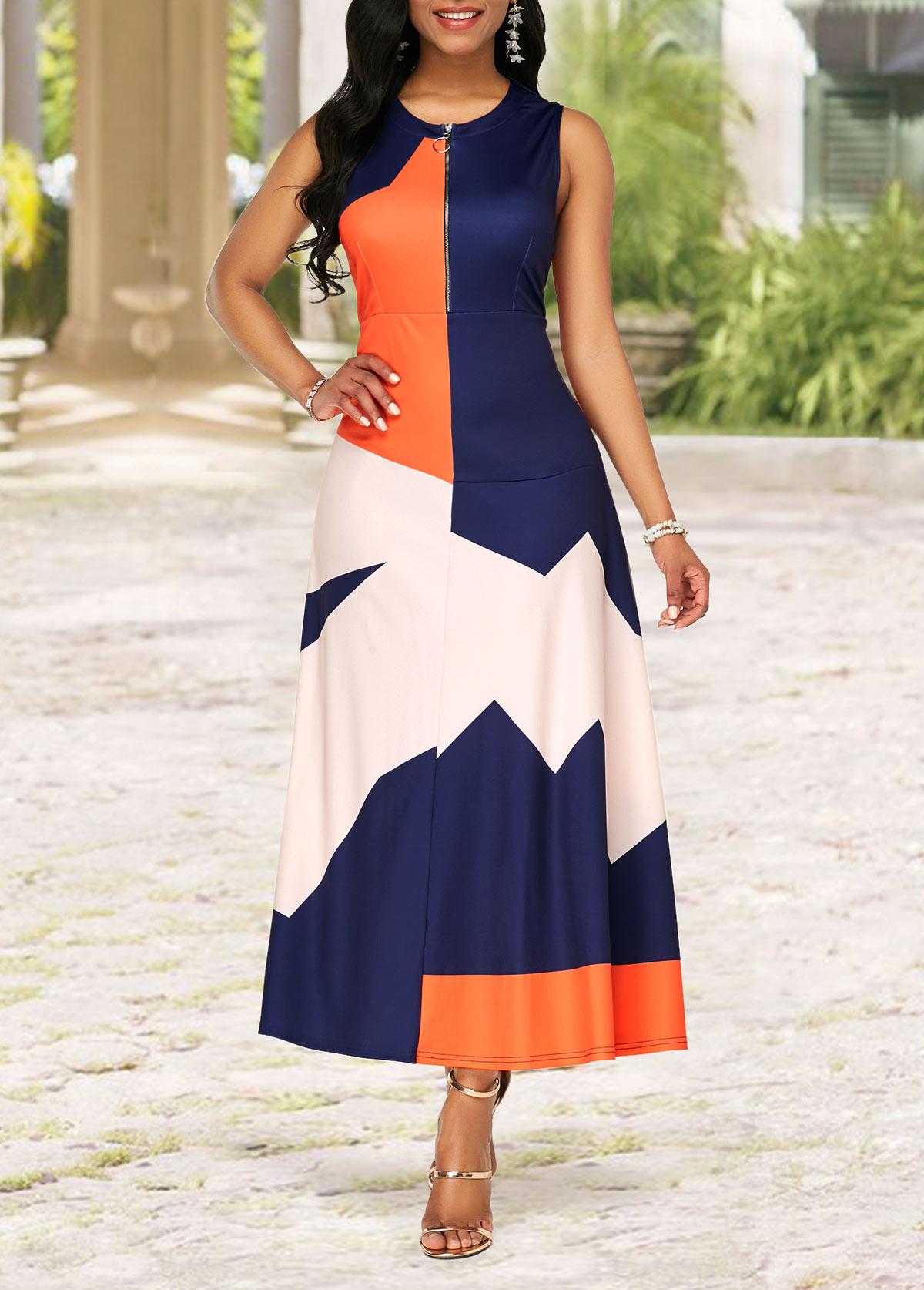 Round Neck Quarter Zip Color Block Dress