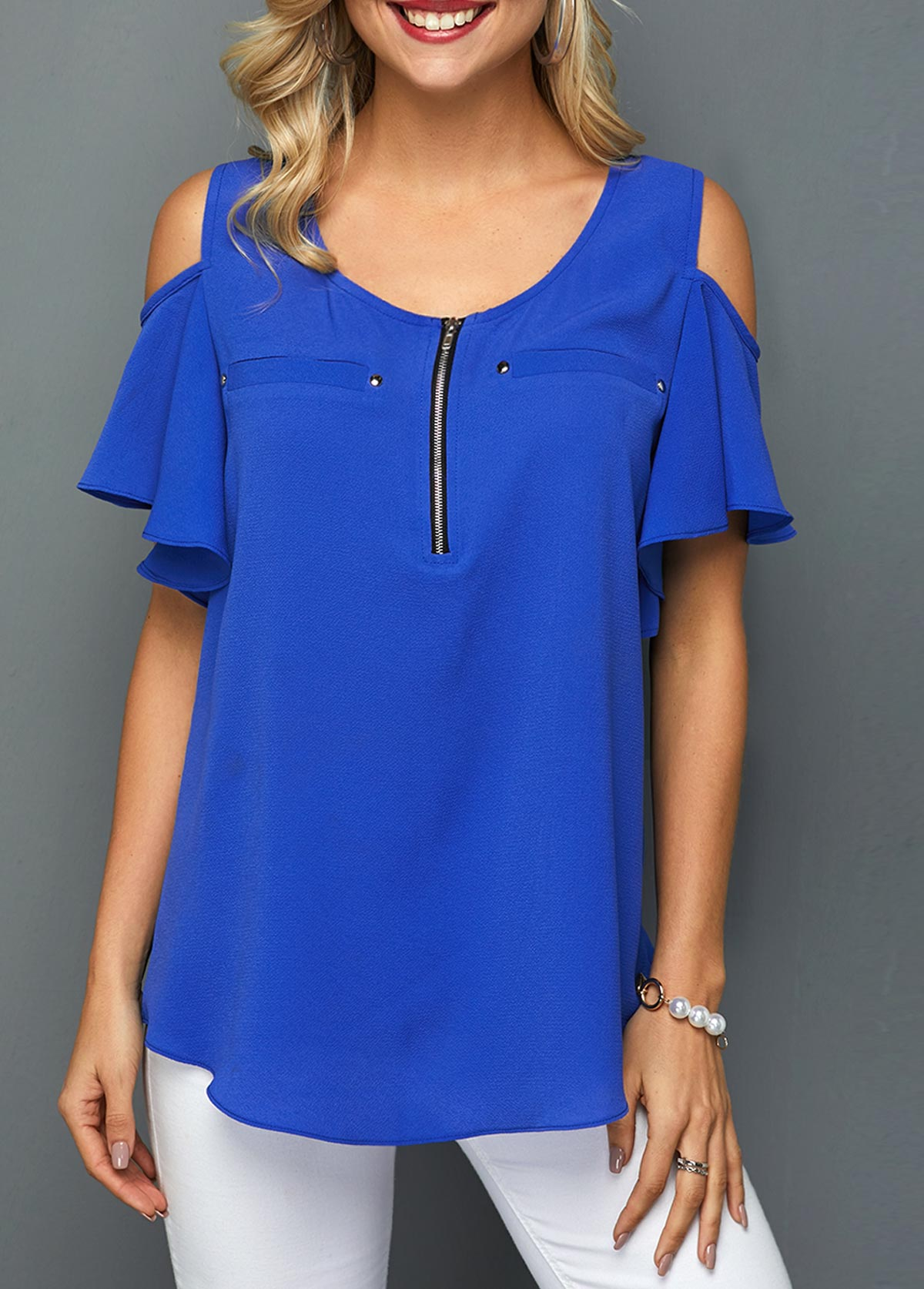 Royal Blue Cold Shoulder Quarter Zip Blouse
