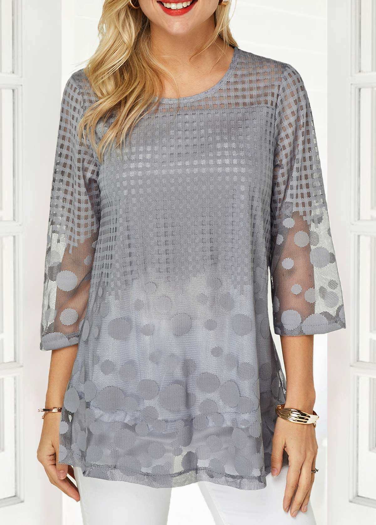 Faux Two Piece Three Quarter Sleeve Keyhole Back Blouse