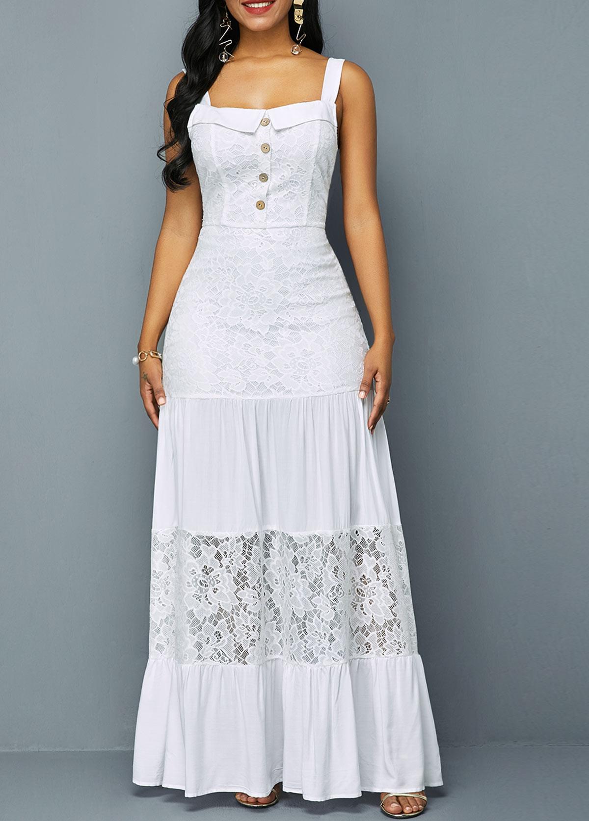 Button Detail Lace Patchwork Ruffle Hem Dress