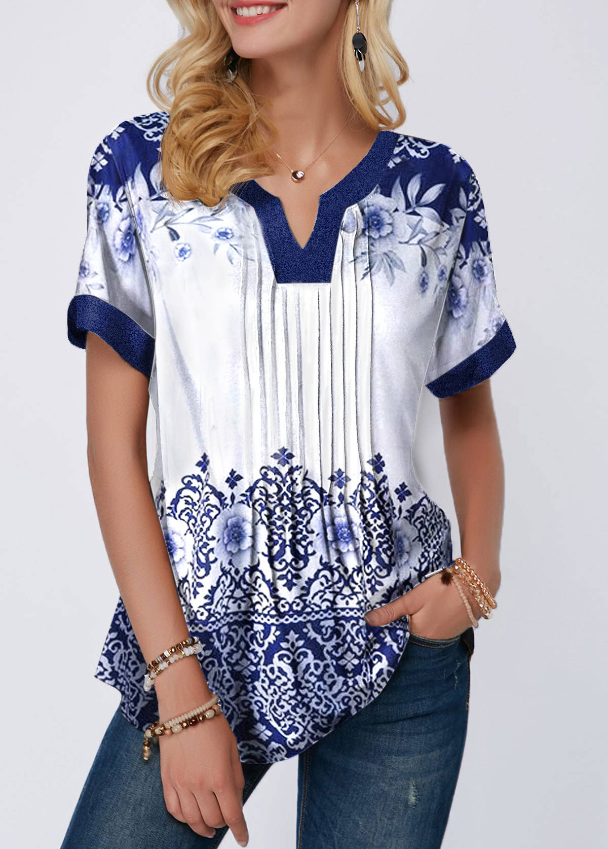 Retro Print Split Neck Pleated Blouse