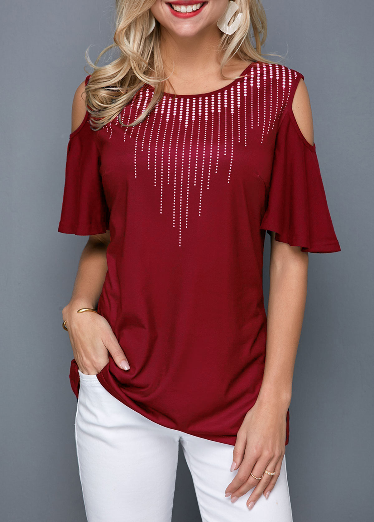Cold Shoulder Round Neck Half Sleeve T Shirt
