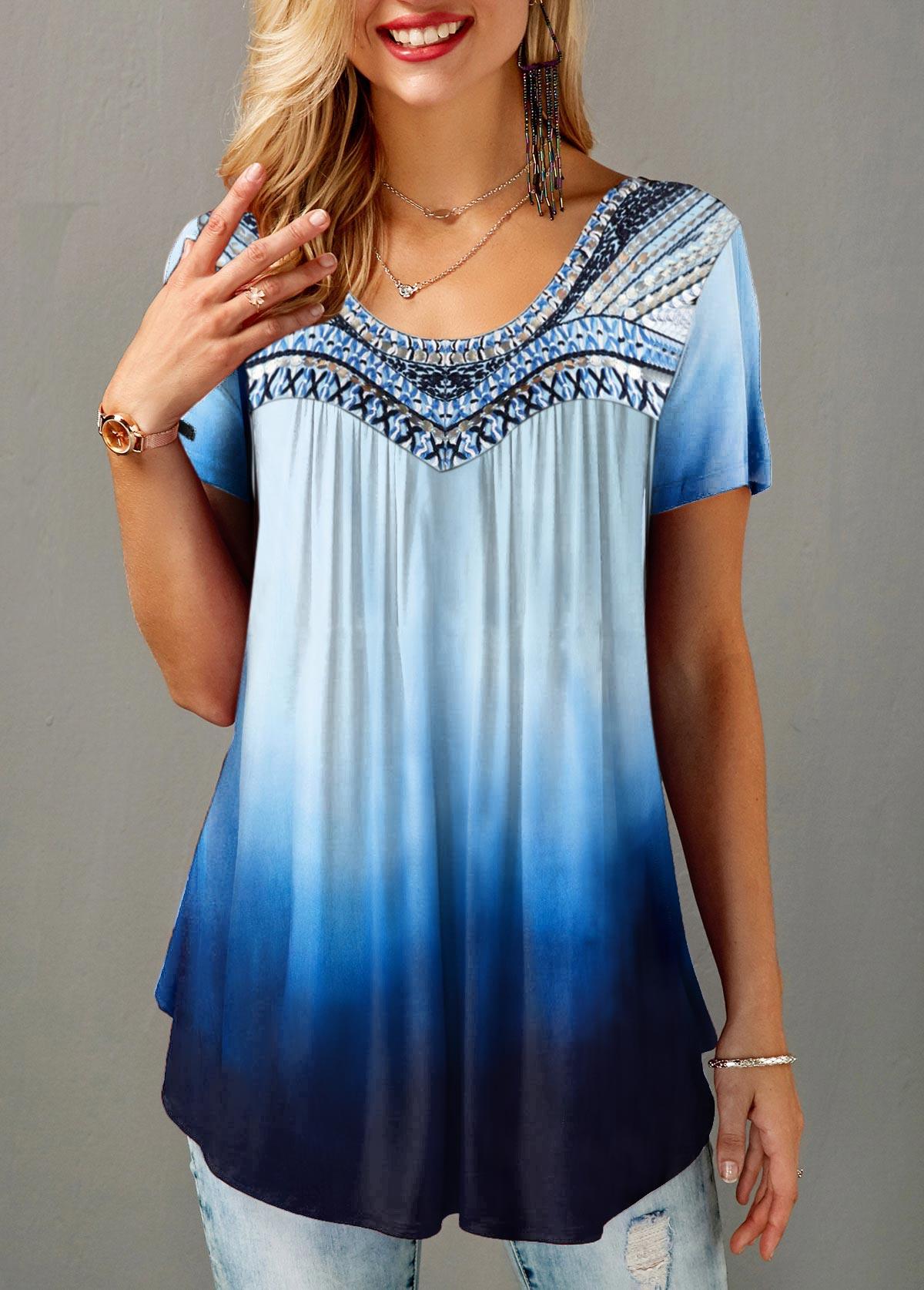 Round Neck Short Sleeve Gradient T Shirt