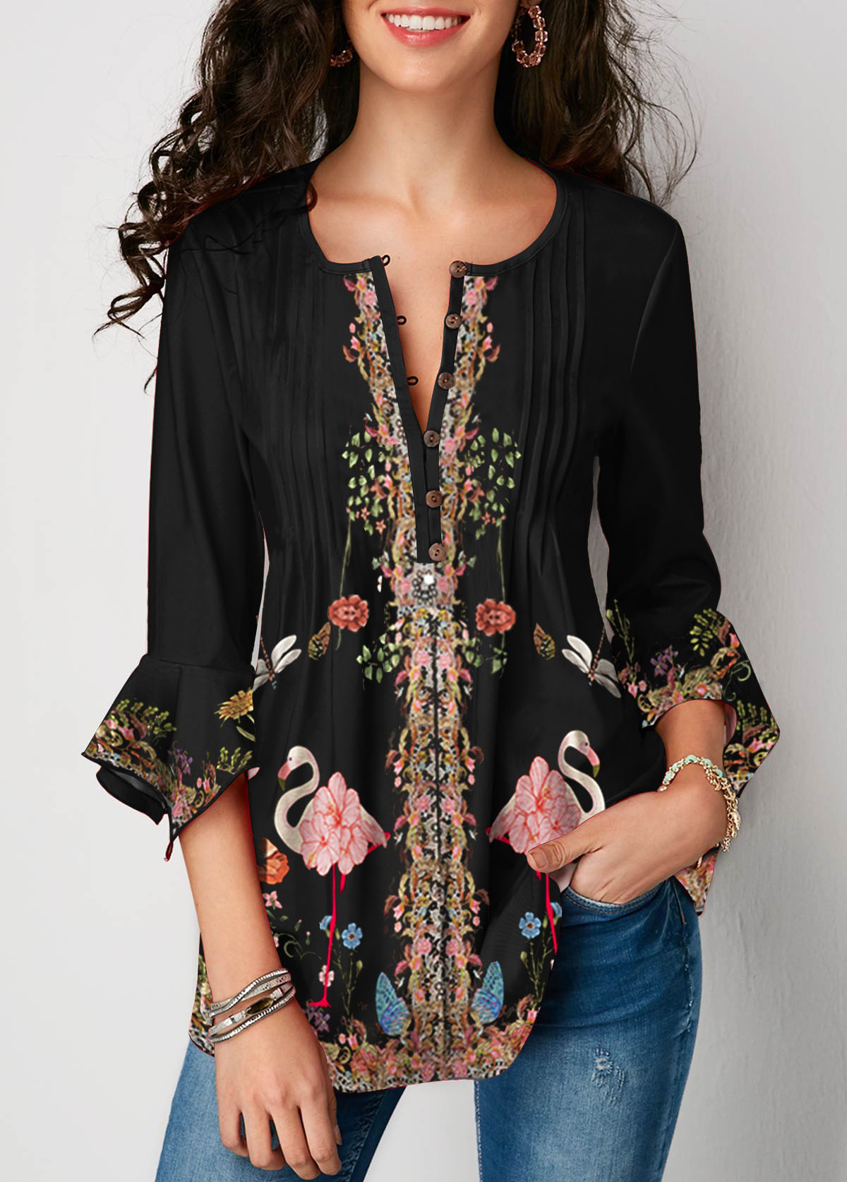 Three Quarter Sleeve Printed Black Blouse