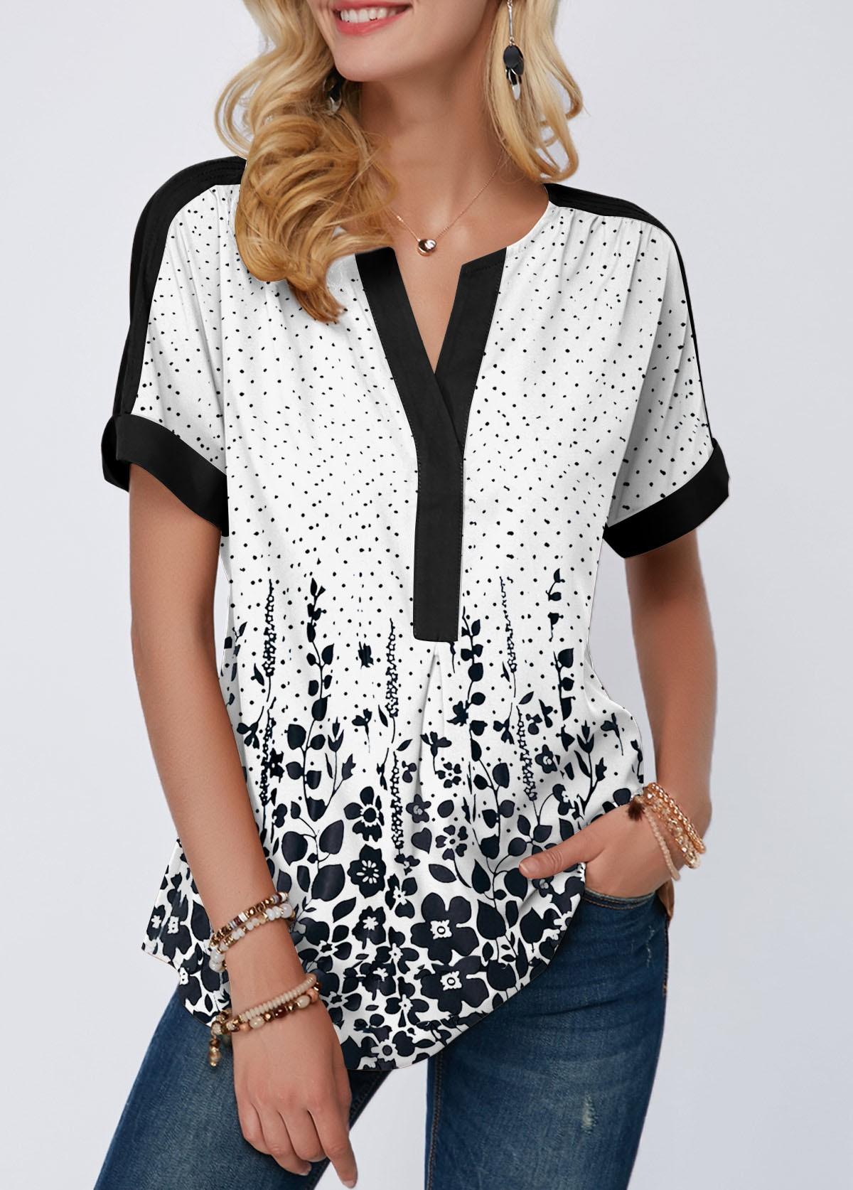 Split Neck Short Sleeve Dot Print Blouse