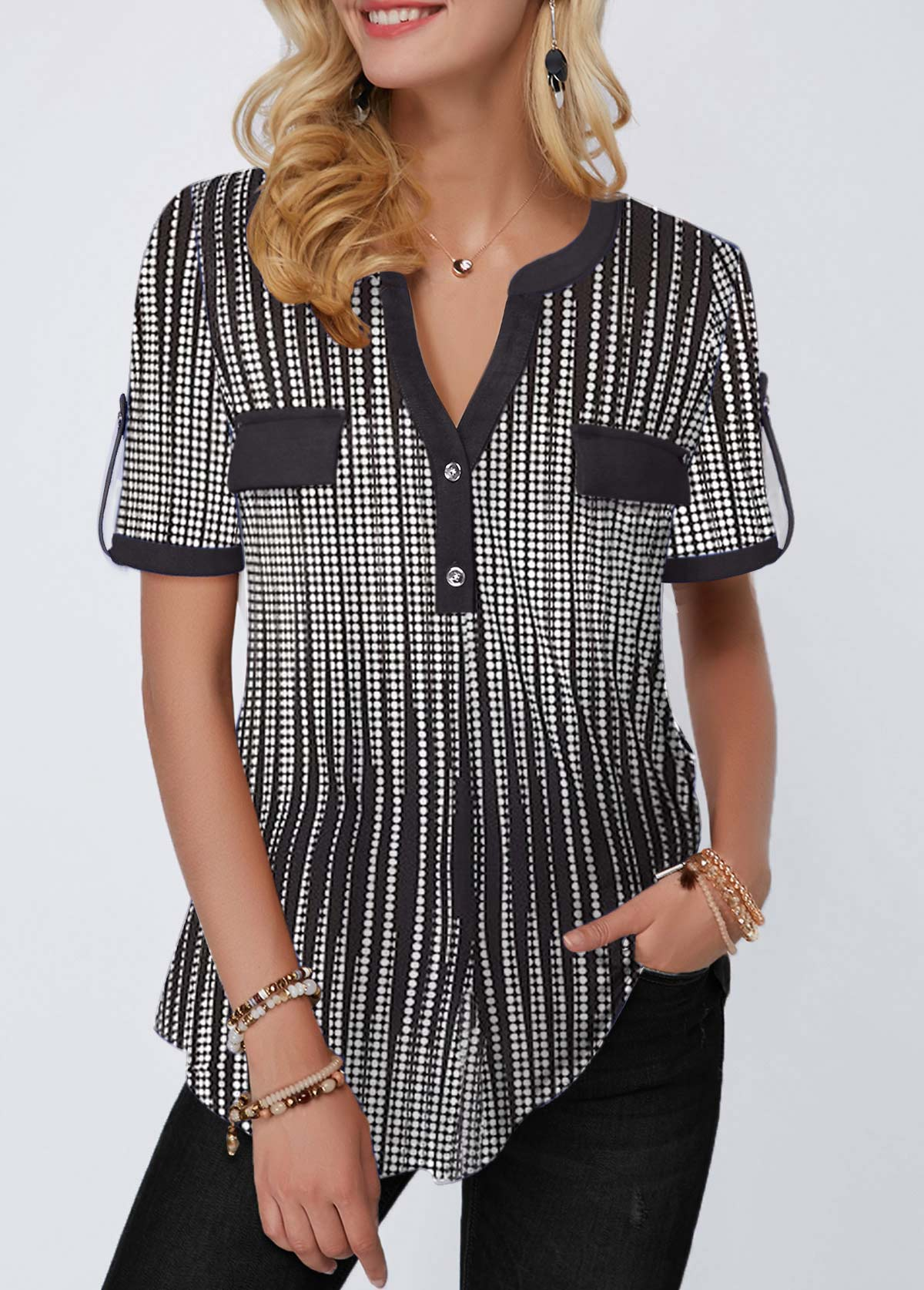 Button Detail Split Neck Half Sleeve Blouse