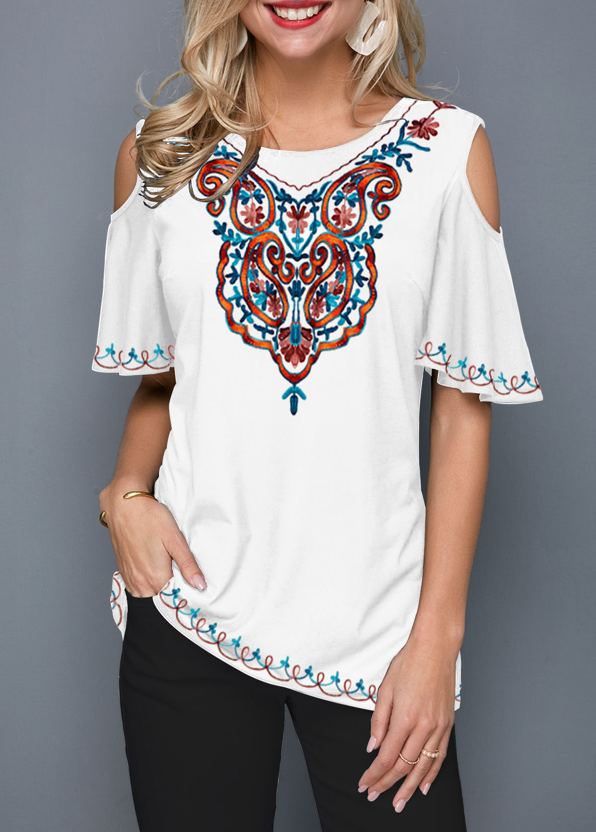 Cold Shoulder Half Sleeve Tribal Print T Shirt