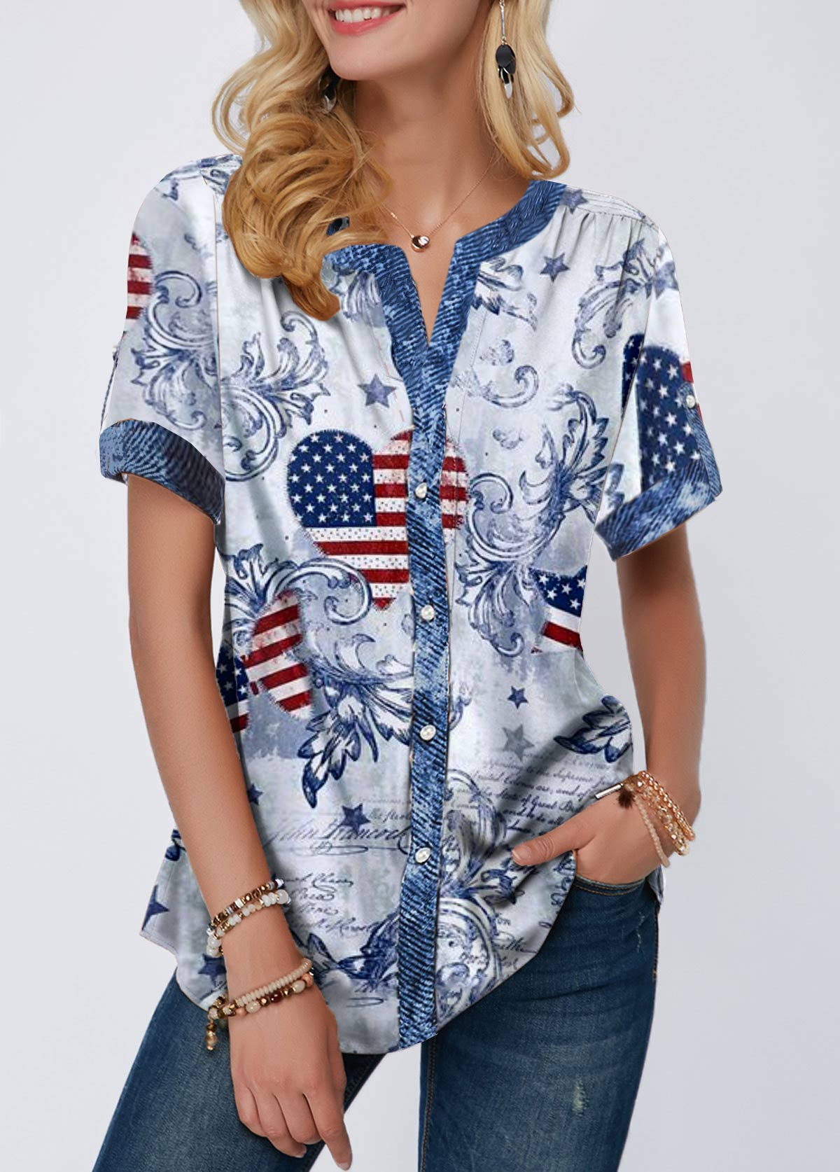 Flag Print Notch Neck Short Sleeve T Shirt