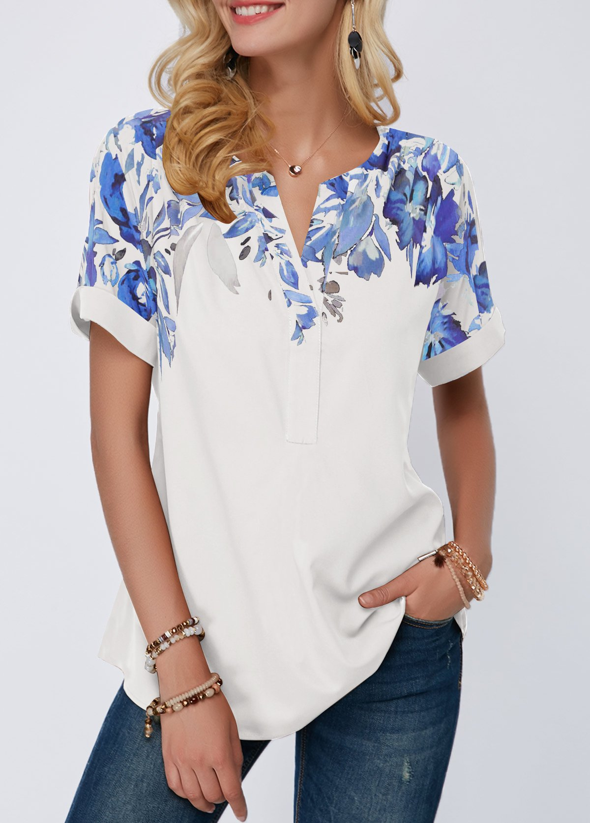 Split Neck Roll Cuff Leaf Print Blouse
