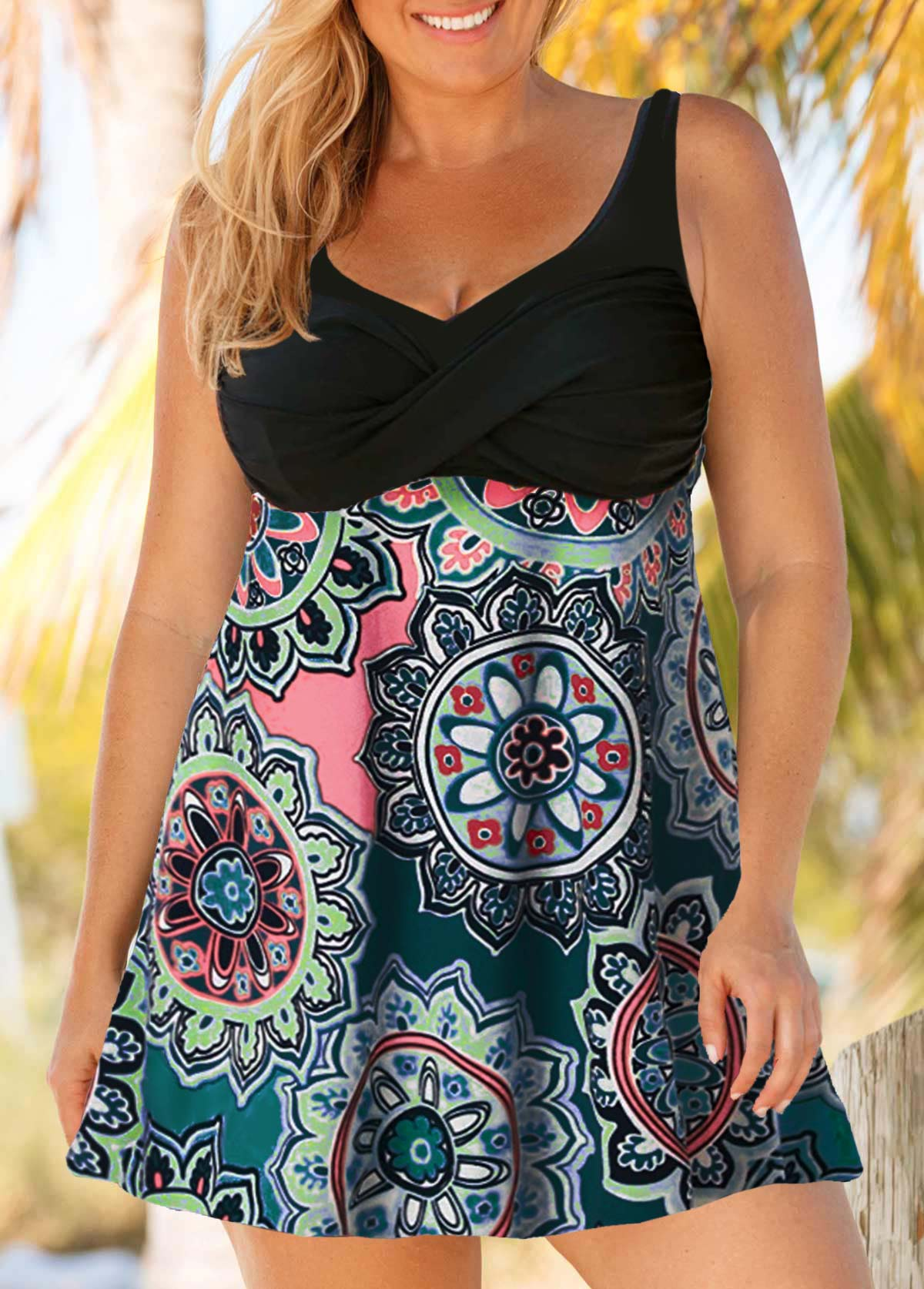 Tribal Print Plus Size Cutout Back Swimdress and Shorts