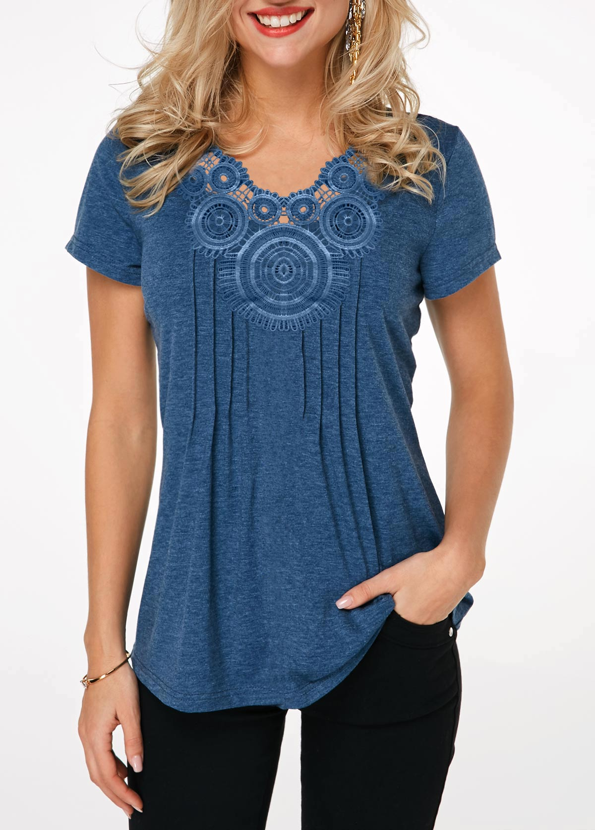 Short Sleeve Crinkle Chest Blue T Shirt