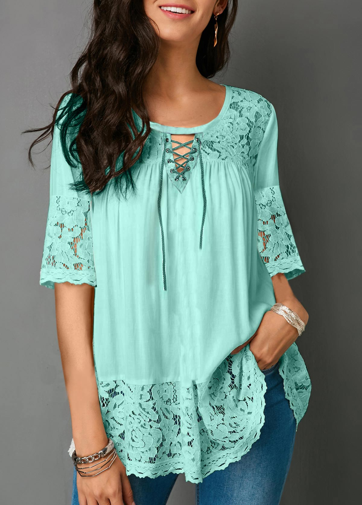 e7f35deef79150 Lace Panel Cutout Front Half Sleeve Blouse | modlily.com - USD $27.26