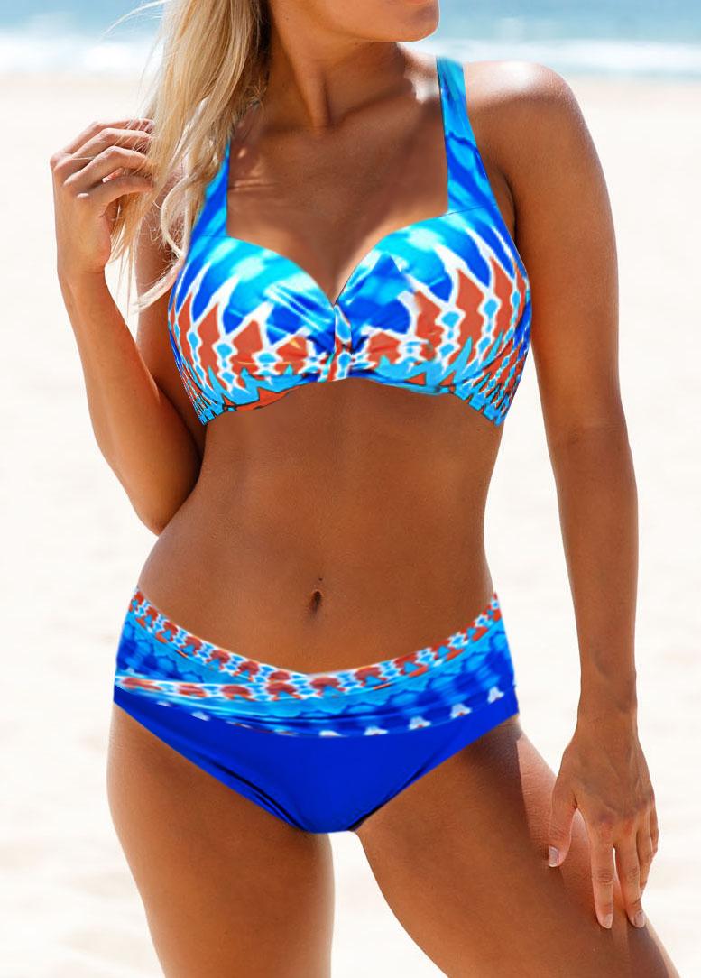 Cutout Back Padded Halter Bikini Set