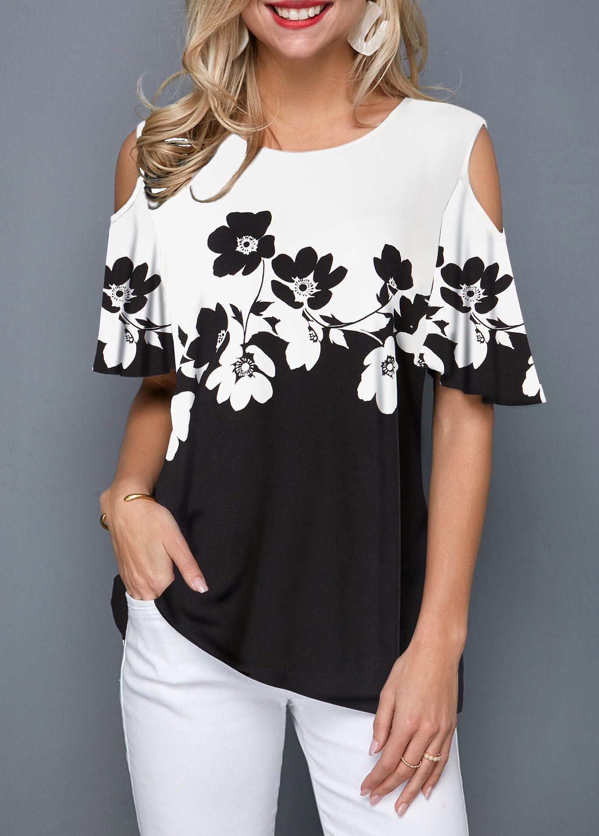 Cold Shoulder Color Block Flower Print T Shirt