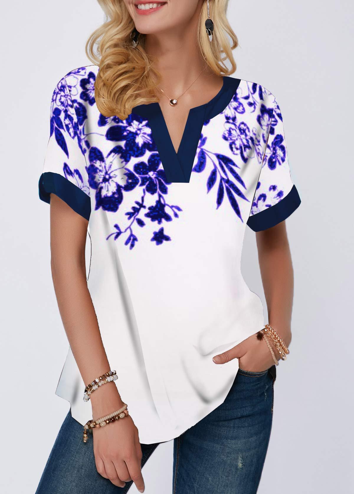 Notch Neck Flower Print Short Sleeve T Shirt